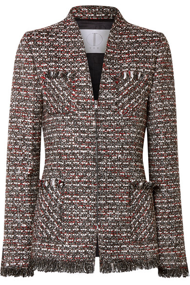 TRE Miller Embellished Metallic Tweed Blazer in Dark Gray