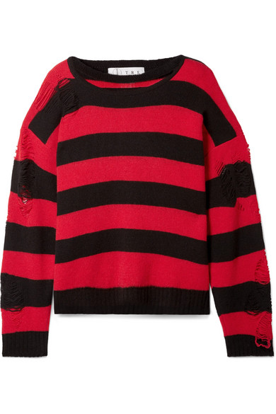 TRE Love Distressed Striped Cashmere Sweater in Crimson