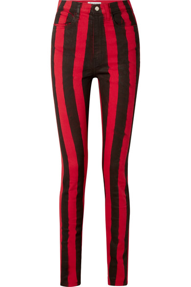 TRE Patti High-Rise Striped Stretch-Cotton Skinny Jeans in Crimson