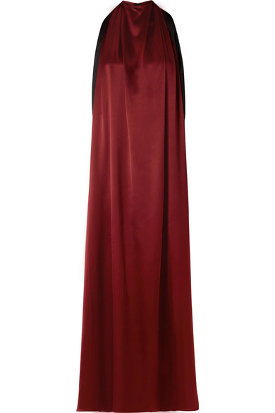 TRE Luna Two-Tone Silk-Satin Gown in Merlot