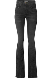Cher distressed high-rise flared jeans