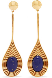 Sofia gold-plated resin clip earrings