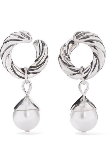 SOPHIE BUHAI Velasquez Silver Faux Pearl Hoop Earrings