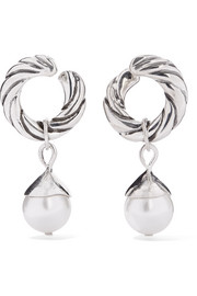 Velasquez silver faux pearl hoop earrings