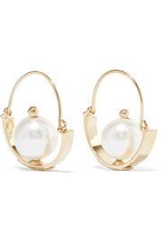 Ginger gold-tone pearl earrings