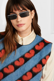 Crystal-embellished square-frame silver-tone and acetate sunglasses