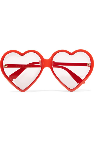 Gucci - Heart-shaped Acetate Sunglasses - Red