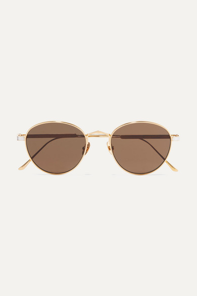 Round-frame gold and silver-plated sunglasses
