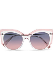 Valentino Valentino cat-eye acetate and silver-tone sunglasses