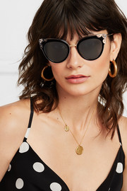 Cat-eye studded gold-tone and acetate sunglasses