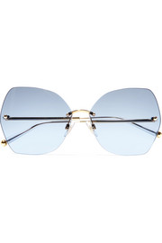 Dolce & Gabbana Hexagon-frame gold-tone and acetate mirrored sunglasses