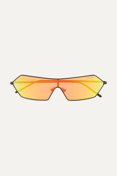 POPPY LISSIMAN Razr D-Frame Metal Mirrored Sunglasses in Yellow