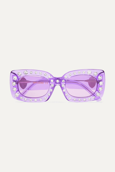 POPPY LISSIMAN Crystal Beth Square-Frame Acetate Sunglasses in Lavender