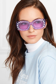 Crystal Beth square-frame acetate sunglasses
