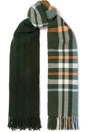 Dipper fringed plaid wool and cashmere-blend scarf