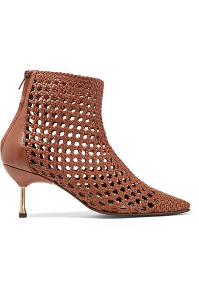 SOULIERS MARTINEZ Mahon Woven Leather Ankle Boots in Brown