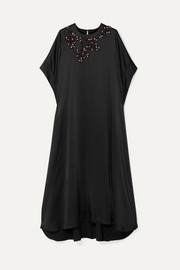 Christopher Kane Oversized crystal-embellished satin maxi dress