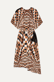 Sequin-embellished checked silk-satin midi dress