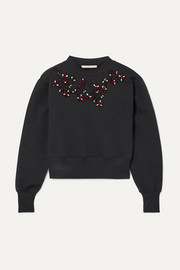 Christopher Kane Cropped embellished cotton-jersey sweatshirt