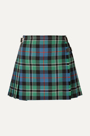 Pleated checked wool wrap mini skirt