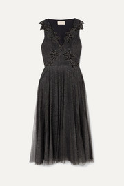 Embellished metallic point d'esprit tulle midi dress