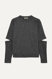 Zip-detailed Lurex sweatshirt