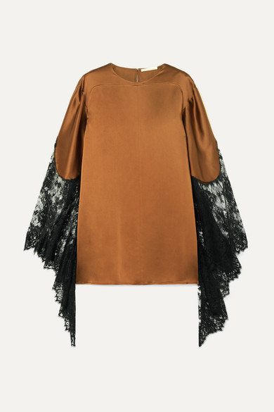 Toffee Lace-Trimmed Satin Top in Brown