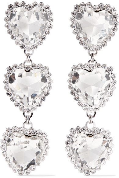 Alessandra Rich Silver Tone Crystal Clip Earrings