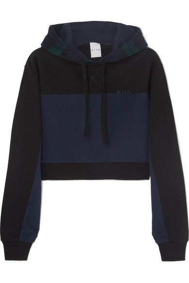 KITH Katie Cropped Checked Paneled Cotton-Jersey And Wool-Blend Hoodie in Black