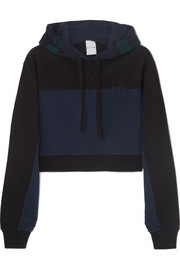 Kith Katie cropped checked paneled cotton-jersey and wool-blend hoodie