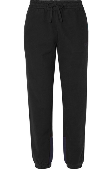 KITH Cleo Flannel-Trimmed Cotton-Jersey Track Pants in Black