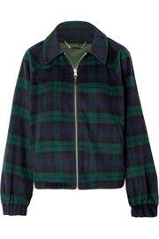 Paulina reversible checked wool-blend and satin jacket