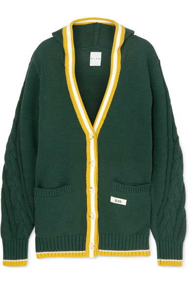 KITH Kinzey Hooded Cable-Knit Cotton Cardigan in Forest Green