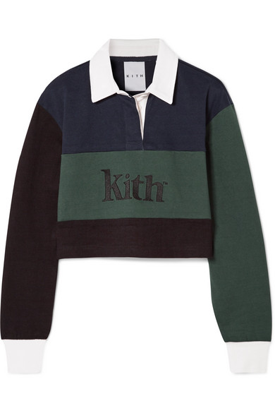 KITH Mia Cropped Color-Block Cotton Top in Navy