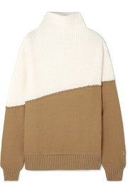 Kith Two-tone ribbed-knit and cotton-jersey sweater