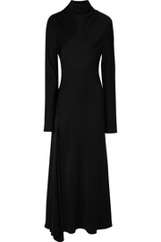 Suprematism cutout draped satin maxi dress
