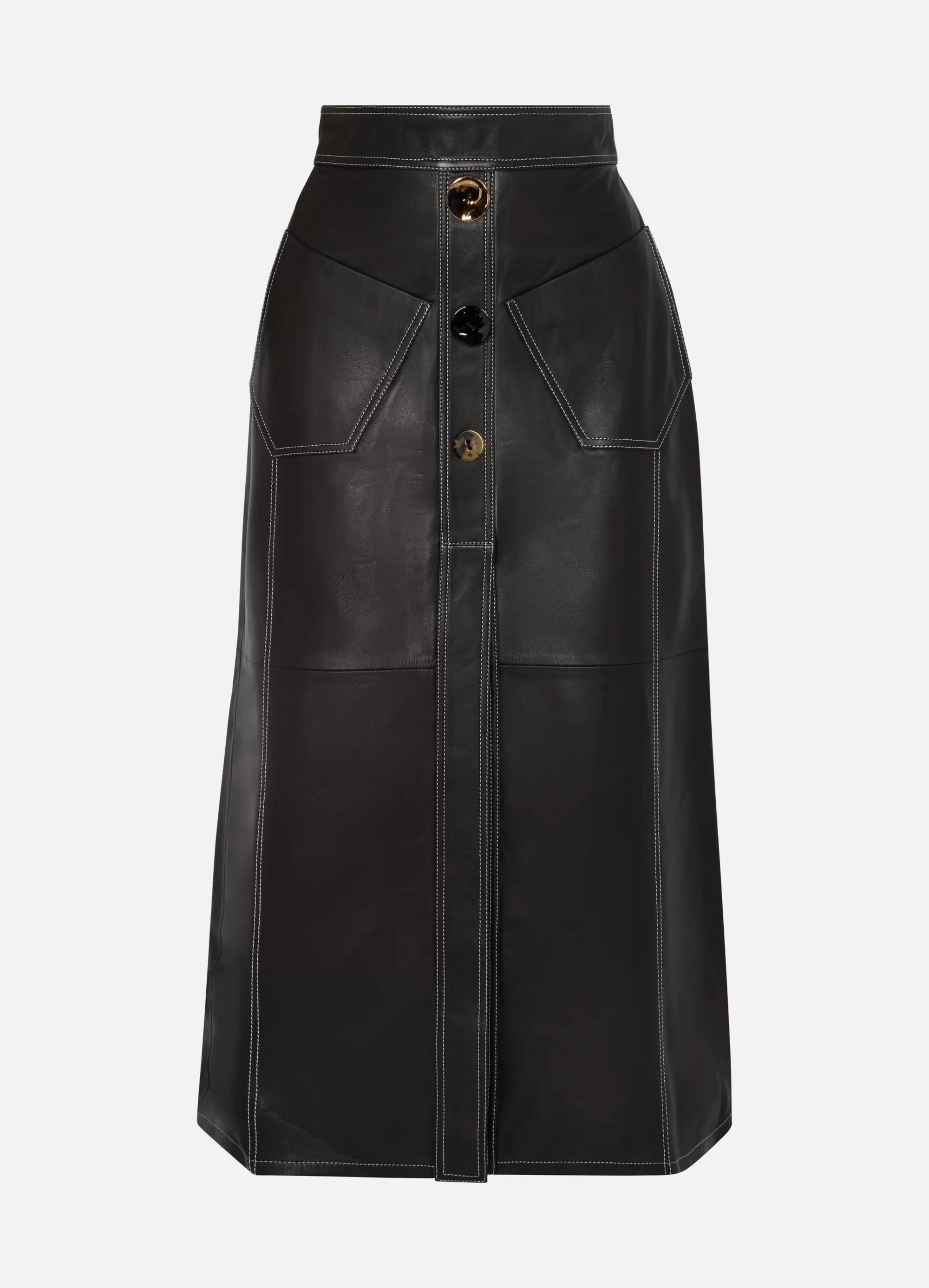Ellery Aggie embellished leather midi skirt