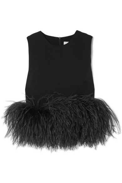 16ARLINGTON CROPPED FEATHER-TRIMMED CREPE TOP