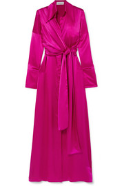 16ARLINGTON Tie-detailed silk-satin maxi dress