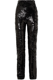 16ARLINGTON Sequined crepe straight-leg pants