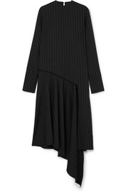16ARLINGTON Asymmetric draped pinstriped twill midi dress