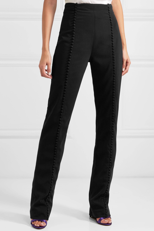16ARLINGTON Button-embellished crepe straight-leg pants