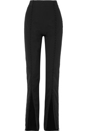16ARLINGTON Button-embellished crepe straight-leg pants