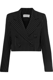 16ARLINGTON Cropped pinstriped twill blazer