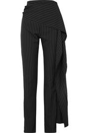 16ARLINGTON Draped pinstriped twill straight-leg pants