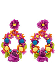 Quesnelia beaded leather and silk clip earrings
