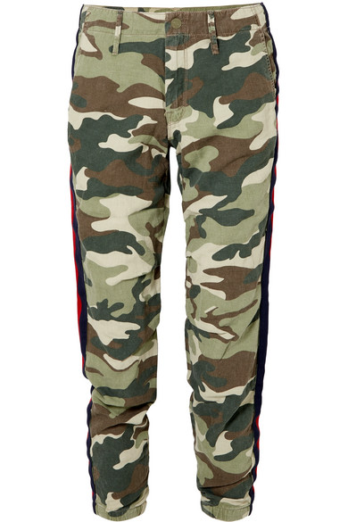 No Zip Misfit Striped Camouflage-Print Cotton-Blend Track Pants, Army Green