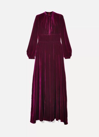 Alma Pleated Silk-Velvet Maxi Dress in Magenta