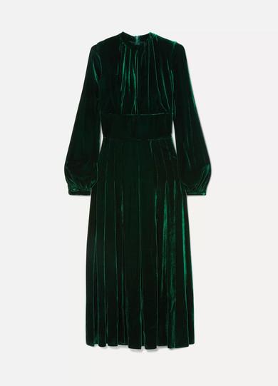 Alma Silk-Velvet Midi Dress in Emerald