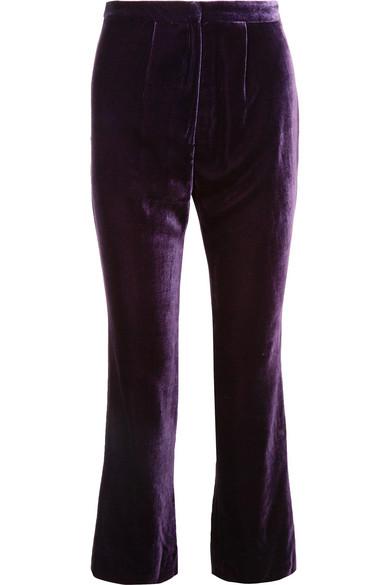 Raquel Diniz - Eunice Silk-velvet Flared Pants - Purple